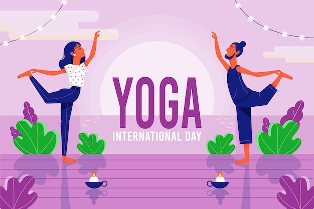 Amigos en posición de yoga día internacional del yoga