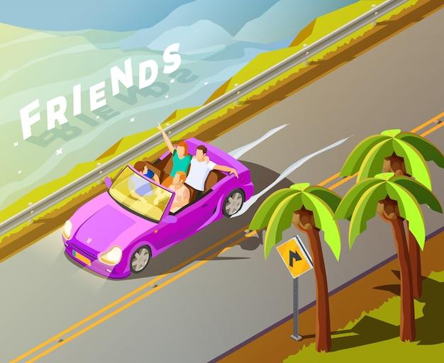 Amigos que montan el coche cartel isométrico del viaje