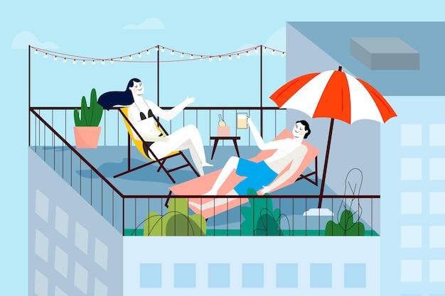 Amigos que se quedan en el concepto de vacaciones en la terraza de la azotea