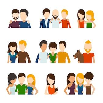 Amigos y relaciones amistosas ambientadas en estilo plano.