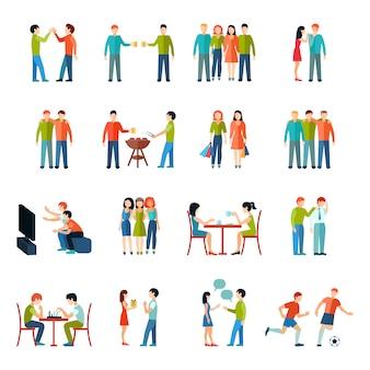 Amigos relaciones personas sociedad iconos conjunto plana