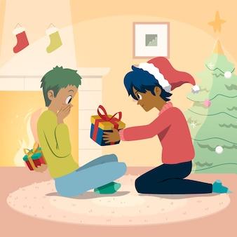 Amigos reuniendo regalos de navidad el uno para el otro