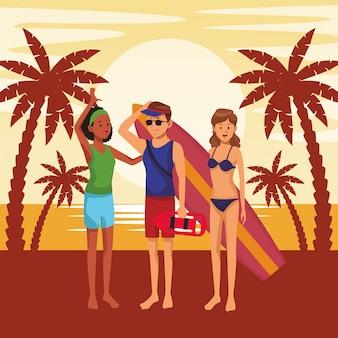 Amigos con tabla de surf dibujos animados de verano