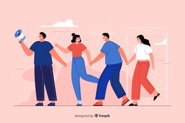 Amigos tomados de la mano ilustración del concepto