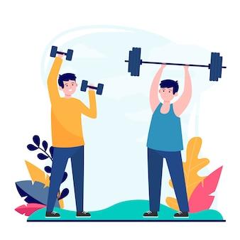 Amigos varones haciendo ejercicio en el gimnasio juntos