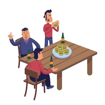 Amigos varones en la ilustración de dibujos animados de pub.