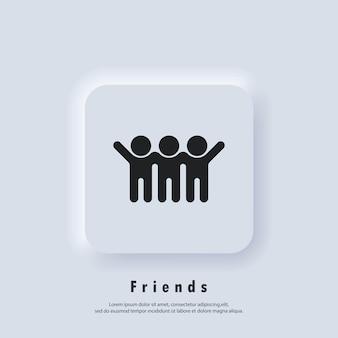 Amigos vector icono hombres. grupo, iconos de amistad. logotipo de mejor amigo. vector. icono de interfaz de usuario. botón web de interfaz de usuario blanco neumorphic ui ux.