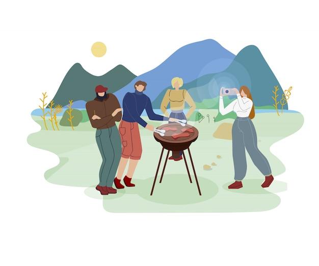 Amigos verano excursión plana ilustración vectorial