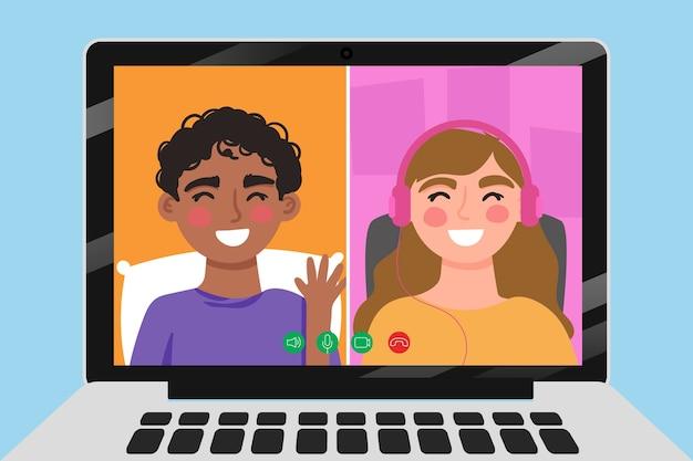 Amigos videollamadas en la computadora portátil