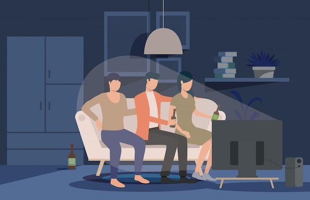 Amigos viendo la página de inicio de la película en casa