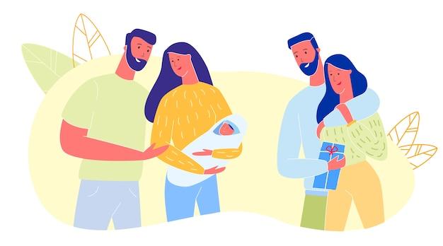 Amigos visitando a padres con bebé recién nacido