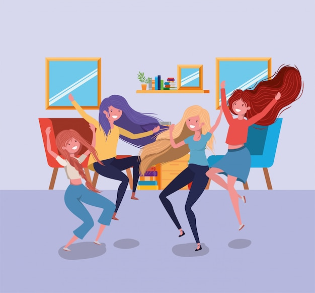 Amistad de chicas dibujos animados