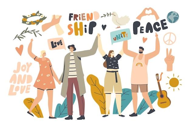Amistad, concepto del día internacional de la paz. personajes masculinos y femeninos felices tomados de la mano, estilo de vida hippies, paloma con rama de hoja. guitarra, alegría y amor. ilustración de vector de personas lineales
