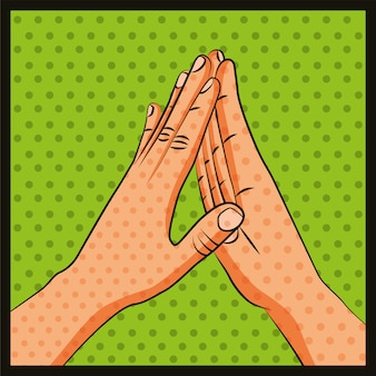 Amistad manos saludo arte pop