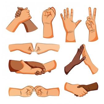 Amistad manos signos saludo dibujos