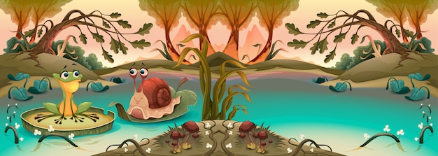 Amistad entre rana y caracol