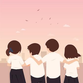 Amistad para siempre estudiante tailandés ilustración vectorial de caracteres