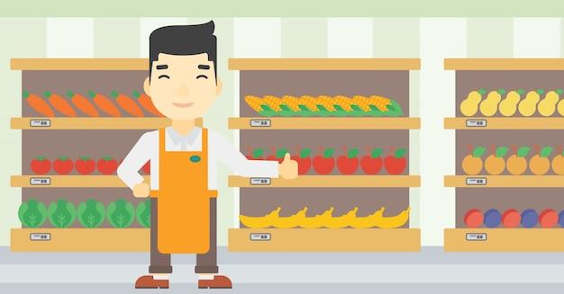 Amistoso trabajador del supermercado.
