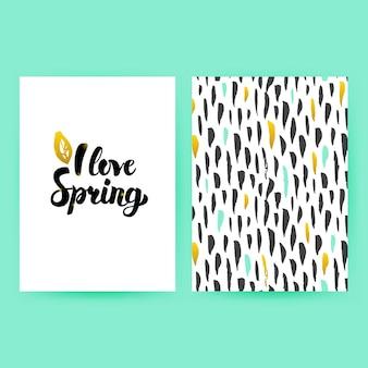Amo el cartel de moda de primavera. ilustración de vector de diseño de patrón con letras manuscritas.