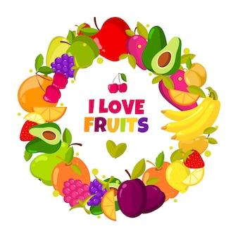 Amo las frutas. marco orgánico de las frutas del vector aislado. banner con ilustración de alimentos frescos naturales