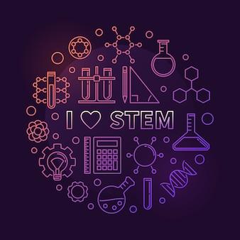 Amo la ilustración del icono del esquema circular de color stem