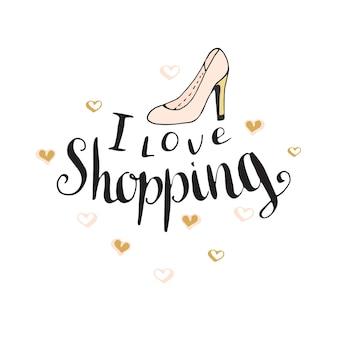 Amo ir de compras. cita de moda para diseño de blog. letras de mano de vector.