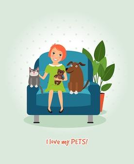 Amo a mis mascotas. chica en sillón con perro y gato. feliz y amistoso. ilustración vectorial
