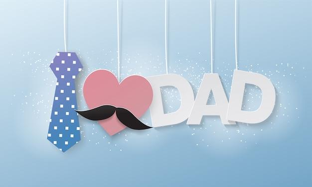 Amo a papá, texto volando papel cortado, día del padre