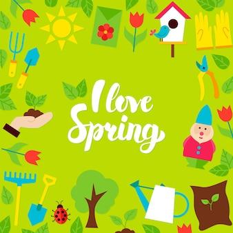 Amo la postal de letras de primavera. ilustración de vector de cartel de jardín de naturaleza de estilo plano.