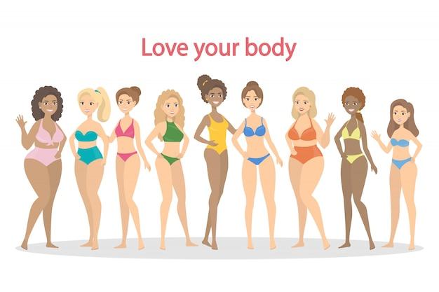 Amo tu cuerpo. conjunto de hermosas mujeres en bikini.
