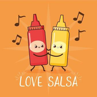 Amor bailando salsa, ilustración