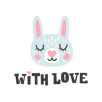 Con amor. cabeza de conejo y cita romántica dibujada a mano. carácter de cara de conejito.