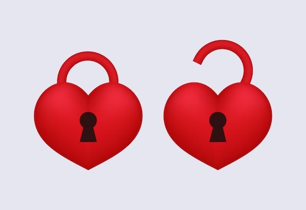 Amor candado abierto y bloqueado.