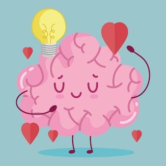 Amor de cerebro de dibujos animados