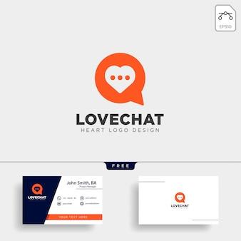 Amor chat simple creativo logo vector icono aislado