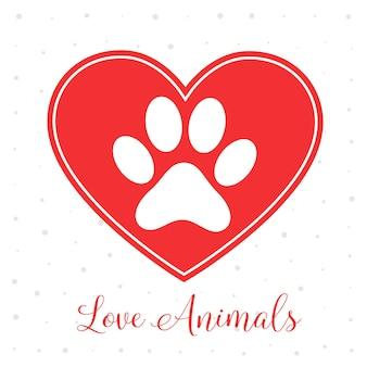 Amor concepto de animales con corazón y huella de pata