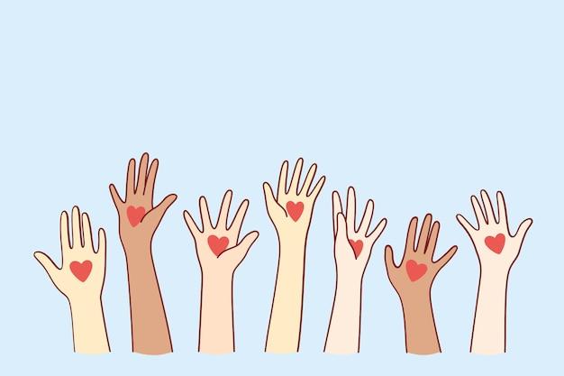 Amor y concepto de apoyo internacional.