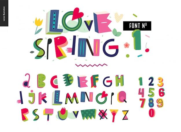 Amor conjunto de alfabeto de primavera