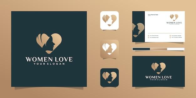 Amor corazón y belleza mujer logo y tarjeta de visita