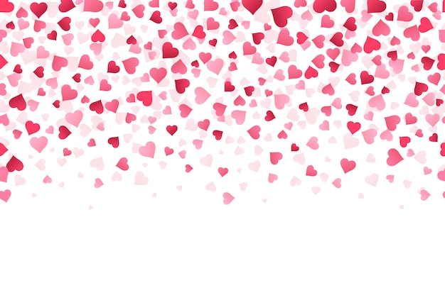 Amor corazón confeti. aniversario de bodas y patrón de tarjeta de felicitación del día de san valentín, caer forma de papel de confeti rojo encantador de fondo de ilustración de corazón. telón de fondo imprimible festivo