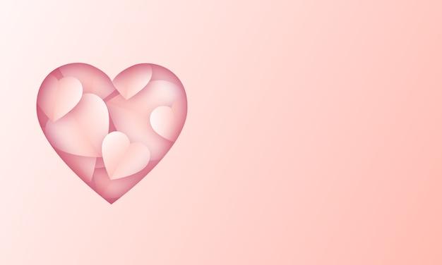 Amor corazón fondo en blanco de san valentín con estilo de corte de papel