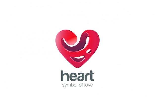 Amor corazón logo forma diseño abstracto plantilla splash estilo. concepto de logotipo de cardiología. icono de símbolo de san valentín.