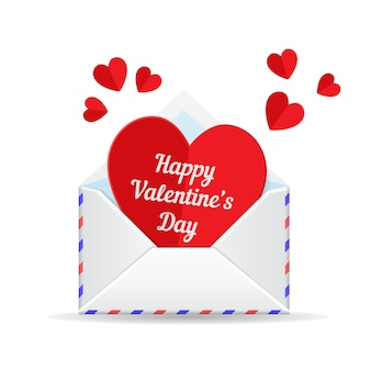 Amor correo, corazón del día de san valentín. papel cortado corazón y sobre aislado sobre fondo blanco.