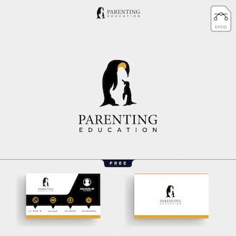 Amor y crianza plantilla de logotipo y tarjeta de visita.