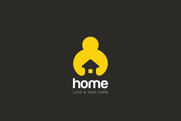 Amor y cuidado, logotipo de bienes raíces. estilo de espacio negativo.