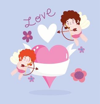 Amor cupidos alados corazones flores magia romántica dibujos animados