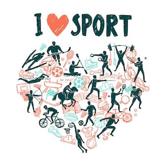 Amor deporte concepto