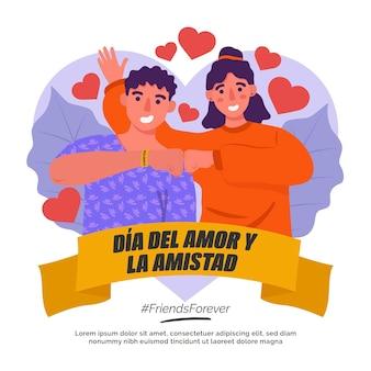 Amor día pareja rodeada de corazones