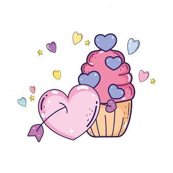 Amor día de san valentín cupcake con corazón y flecha