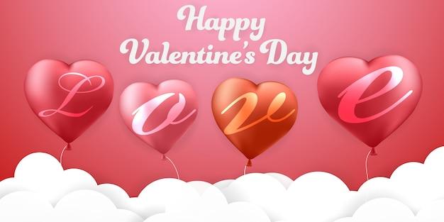 Amor el día de san valentín y globos de fondo rojo
